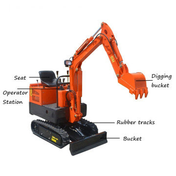 0.8Ton Mini tuingraafmachine Micro Digger Machine