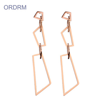 Simples Dainty Rose Gold Geometric Dangle Brincos