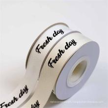 NX038 Wholesale natural color custom printed twill herringbone cotton ribbon with logo