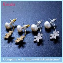 Boucles d'oreilles à fleurs Lucky cz boucles d'oreilles en pétales de diamants découvertes en bijoux en perles d'eau douce
