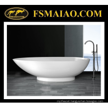 Stone Resin Freestanding Bathtub of Glossy White & Modern Design (BS-8606)