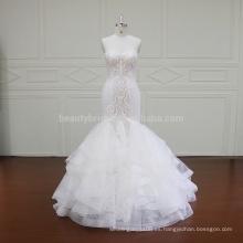 XF16009 china clásico de encaje sirena vestido de novia de la reina
