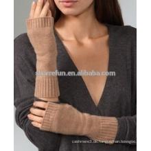 Fabrik Großhandel gute Qualität flach gestrickte 100% Cashmere fingerlose Handschuhe