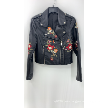 Women's Black Pu Embroidery Jacket