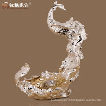 home interior decor high quality peacock fruit plate with resin material