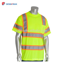 Mejores ventas Hi-Vis Yellow Work T-shirts 100% poliéster Birdseye Mesh Round Collar Safety Tees Con 2 tonos Tonos reflectantes