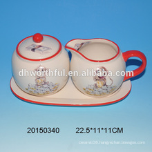 Customize ceramic sugar and creamer set,milk and sugar set with monkey painting