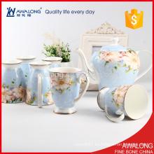 Taza de la porcelana de la luz azul y regalo de la vuelta de la boda de la elegancia del pote del café