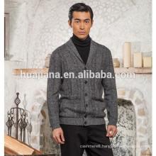 Stylish style men's 100% cashmere knitting cardigan
