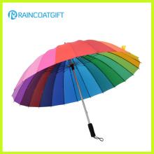 Regenbogen-Farbe kundenspezifischer gedruckter Polyester-Golf-Regenschirm-gerade Regenschirm