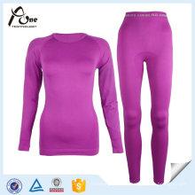 100 Polyesyer Seamless Warm Plain Unterwäsche Set für Frauen