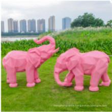 Fiberglass Resin Golden Abstract Animal Elephant Decorated Statue Sculpture