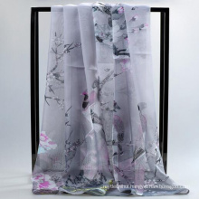 Comfortable Pretty women print wholesale chiffion big long hijab and silk scarf summer
