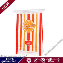 Food Grade Customized Resealable Square Bottom Popcorn Kraft Paper Food Bags Cookie Bread Bags