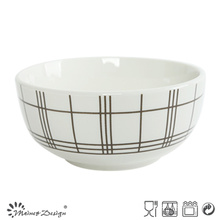 5.5inch White Porcelain with Checked Decal Rice Bowl