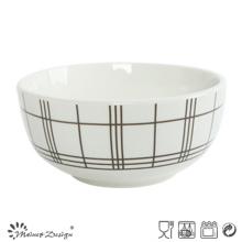Porcelaine blanche de 5.5inch avec le bol de riz de décalque à carreaux