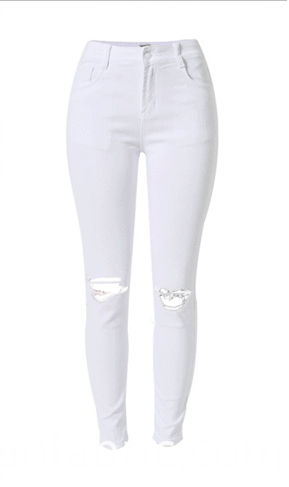 525cheap White Jean Ripped Knee Hole Womens