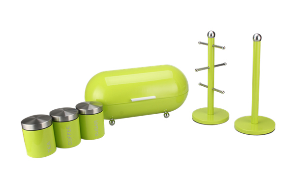 6pcs Kitchen Stainless Steel Utensil Sets Bread Bin With Feet Canister Mug Tree Paper Holder