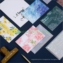 Hot Stamp Flower Printing Greeting Paper Card with Envelope