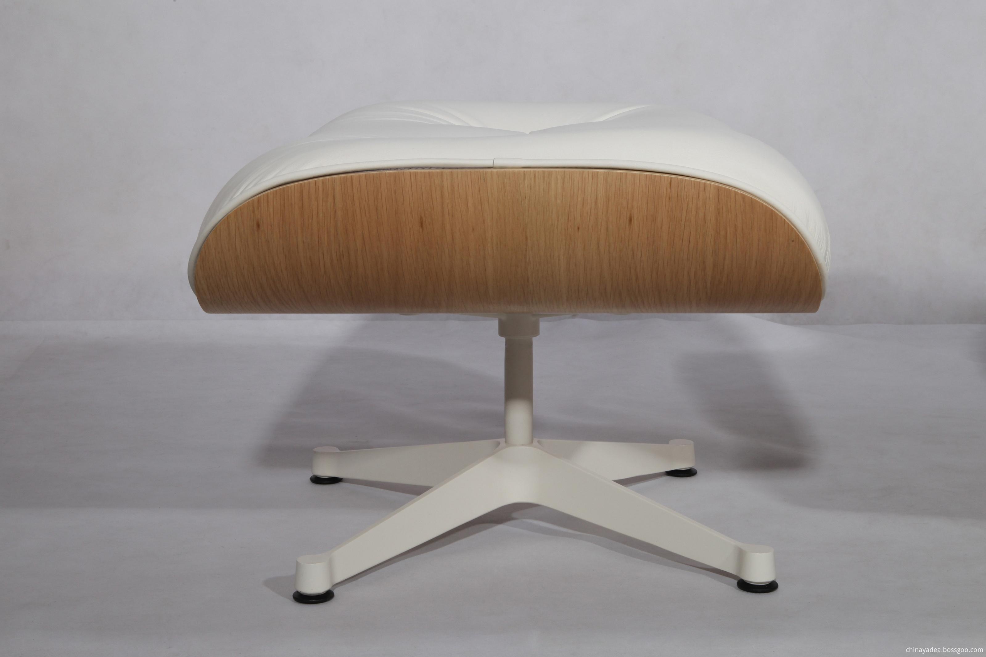 white aniline leather ottoman