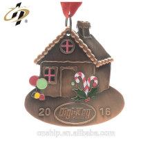 Wholesale antique copper 3D alloy enamel custom metal house medals
