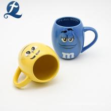 Blank Color M&M Cartoon Design Stoneware Coffee Cup Reusable
