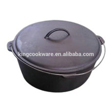 High quality vegetable oil coating flat bottom cast iron dutch oven/camping pot