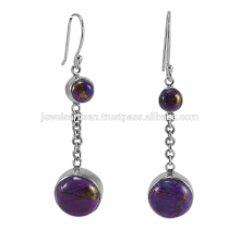 Natural Purple Copper Turquoise Gemstone 925 Solid Silver Earring Jewelry