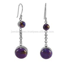 Натуральный Фиолетовый Меди Бирюзовый Драгоценных Камней 925 Твердое Серебро Серьги Ювелирные Изделия
