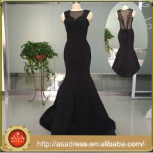 ASAE02 Style Black Beads Evening Gown High Neck Thick Mermaid Black Sexy Long Elegant Prom Dresses Sheer Back Evening Dress