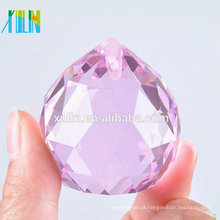 Pingente de cristal rosa candelabro bola facetada bola feng shui