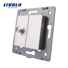 Touche de fonction de prise TV satellite murale électrique Livolo avec sortie de plaque métallique VL-C7-1ST-15