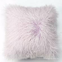 TopLevel Mongolian Sheep Fur Wool Sofá Cojín