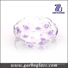 Colored Glass Plate with Flower Design (GB1708MG-1/PDS1)