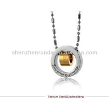 2014 venta al por mayor de la manera Collar pendiente del anillo de los pares Collar pendiente de acero inoxidable del acero inoxidable