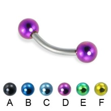Titanium Curved Bent Barbell with Colored Balls
