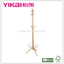 Luxious valet solid wood clothes hanger with a basket in the bottom