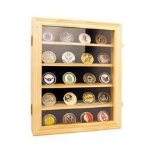 High quality custom11x14 Military challenge coin Removable bracket Wooden Coin Display Case with Lockable