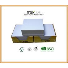 Cubo de papel branco de 85 * 85 * 30mm com embalagem de caixa