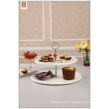 porcelain flat and round 2 tier cake stand wedding with handle