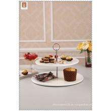 Porcelana plana e redondo 2 tier casamento bolo stand com alça