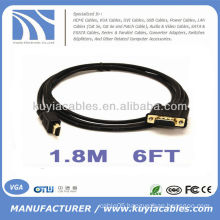 6FT 1.8M HDMI Gold Plated Male to VGA 15Pin HD-15 Male For PC Video Cable