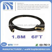 6FT 1.8M HDMI Позолоченный мужчина к VGA 15Pin HD-15 для ПК Видеокабель ПК