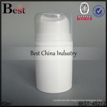 50ml white airless pp bottle with pump, plastic airless pump bottle, airless cosmetics lotion bottle for sale