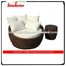 Tumbona de ratán de Amazon, cama redonda de muebles de ratán al aire libre, cama redonda