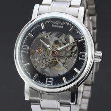 classical winner business men watch alloy case with stainless steel band