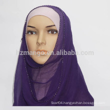 Goods in stock 100% silk crepe GGT beading hijab scarf