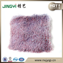 Wholesale 40X40CM Long Hair Mongolian Lamb Fur Cushion