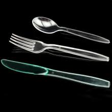 Cuchara de plástico cuchara desechable y unidad de tenedor 19 cm cuchillería establece