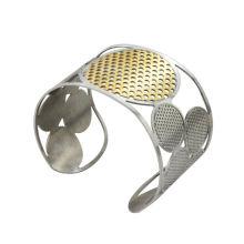 Pulseira de aço inoxidável nova chegada com banhado a ouro rodada e prata casal 4round, pulseiras de punho de alta qualidade